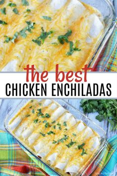 I know that you will love this recipe that my family calls the best sour cream chicken enchiladas. This is one of my favorite Mexican dishes. These chicken enchiladas also freeze great so make 2 batches - 1 to eat and 1 to freeze for later! I hope your f Chicken Cheese Enchiladas, Sour Cream Enchiladas, Chicken Enchilada Bake, Rotisserie Chicken Enchiladas, Easy Chicken Enchilada Casserole, Turkey Enchiladas, Enchilada Soup, Gastronomia, Recipes