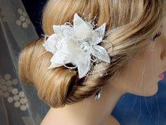 Bridal hair fascinator, Wedding headpiece, Lace and Rhinestones Bridal accessories, Bridal hair clip