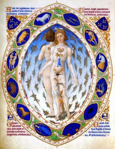 """This is a famous illustration called """"Zodiac Man"""". It comes from the century illustrated book Les Trés Riches Heures du Duc de Berry, which also contains detailed and richly coloured illustrations for each of the 12 Zodiac Signs. Medical Astrology, Astrology Zodiac, Astrology Signs, Zodiac Signs, Astrological Sign, Astrology Chart, Sagittarius, Horoscope Compatibility, Learn Astrology"""