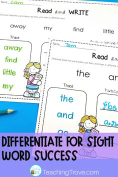 Create sight word activities that target the exact words your kindergarten or first grade students need to learn. Use your own list words to add 3 to 10 words to each activity. Your struggling readers can do the same activity as your advanced ones. These fun printables are perfect for literacy centers, partner work, morning work, extra activities for early finishers, or homework.. #sightwords #reading