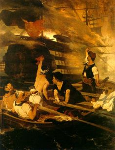 "Nikiphoros Lytras, ""The blowing up of the Nasuh Ali Pasha's flagship by Kanaris"" Greek Paintings, Greek Art, Greek Life, Greece, Contemporary Art, Art Gallery, Kindergarten, National Holiday, 25 March"
