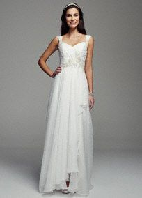 Ethereal and airy, this whimsical chiffon A-line gown is absolutely stunning!  Cap sleeve bodice features intricate embellished beaded detail.  Empire waist creates a flattering silhouette.  Chiffon A-line skirt adds movement and dimension.  Available online in Soft White. Sizes 0-14.  Fully lined. Back zip. Imported. Dry clean. To preserve your wedding dreams, try our Wedding Gown Preservation Kit.
