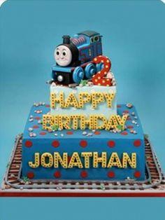 Even simpler thomas the train cake Thomas Birthday Parties, Thomas The Train Birthday Party, Trains Birthday Party, Train Party, 2nd Birthday, Birthday Ideas, Thomas Cakes, Friends Cake, Confetti Cake