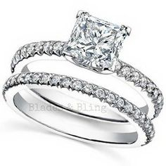 Princess Cut Wedding ring set Sterling Silver 1 carat ladies size 5 6 7 8 9 Affordable elegance for your engagement solitaire and wedding band