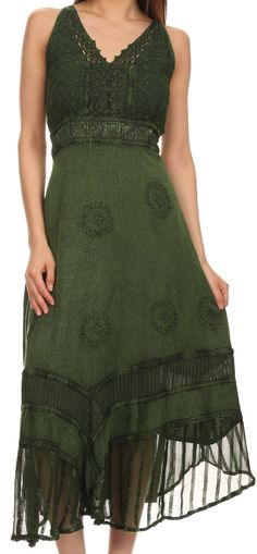 Sakkas Jammeh Stonewashed Embroidery Rayon Adjustable Spaghetti Straps Dress