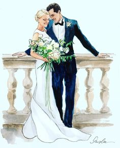 New York City based artist Inslee Fariss creates watercolor illustrations for weddings, events, brands and fine art commissions Wedding Drawing, Wedding Art, Watercolor Wedding, Wedding Images, Wedding Couples, Wedding Pictures, Wedding Dress Sketches, Wedding Bells, Paar Illustration