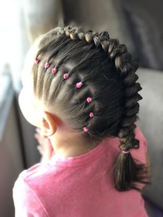 Elastics And Dutch Braid Combo This One Came Out Awesome Kids Hairstyles Braided Hairstyles Kids Braided Hairstyles