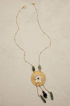 Gilded Peony Pendant Necklace