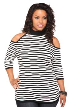 White And Black Striped Cold-Shoulder Top from Torrid