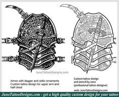 armor tattoo, celtic knot tattoo, chest tattoo, celtic tattoo, juno tattoo designs, tattoo template