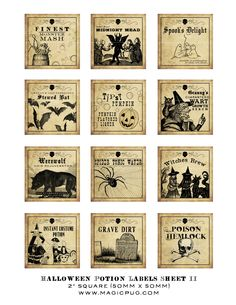 Antique Halloween Potion Labels II 2x2 inch digital collage sheet inchies 50mm square witch monster ghost pumpkin bat werewolf spider cobweb. $4.00, via Etsy.