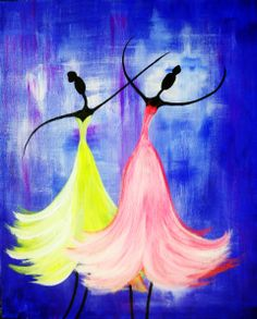 """Whirl your brush, twist the colors, swirl the paint on the canvas to master this artful perfect dance.  Bring your two left feet and create a waltz of color, texture and light at our """"Graceful Dancers"""" night."""