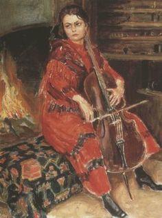 Akseli Gallen-Kallela aprilie 1865 - 7 martie pictor şi grafician finlandez - Kirsti playing the cello Chur, A4 Poster, Poster Prints, Celine, Vintage Music, Vintage Artwork, Woman Painting, Figure Painting, Album