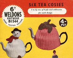 Doll Tea Cosy and 2 more Cosies - Digital Knitting Pattern