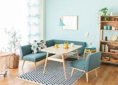 バーチ材の温もりと、シンプルな北欧風デザインが魅力のソファーダイニング「PURI(プリ)」。1人掛け、2人掛け、カウチソファーとテーブルの4点セットです。