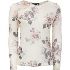 Cream Floral Print Long Sleeve Top ($18) ❤ liked on Polyvore featuring tops, white long sleeve top, tie waist top, cream top, floral tops and white floral top