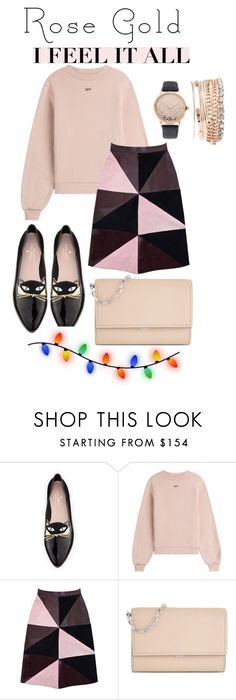 """""""#rosegold"""" by zozanazozane ❤ liked on Polyvore featuring Kate Spade, Off-White, Florence Bridge, Michael Kors, Jessica Carlyle and rosegold"""