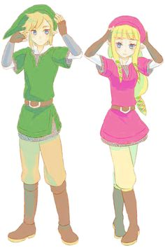 That'd be cool to have a two player Zelda game where one plays as Link and the other plays as Zelda. It'd be different, but the last two games have been from others like Ocarina of Time. I just want to be able to look stupid swinging a wii remote with someone playing a game from the best franchise in Nintendo... (also, I don't know who the artist is, sorry!)