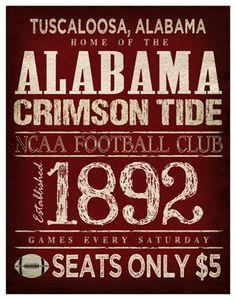 Alabama Crimson Tide Poster - 11x14 - Alabama Football Print -