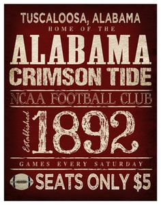 Alabama Crimson Tide Poster -  11x14 - Alabama Football Print - wish I could find this! Could be a cool gift for some fellow fans I know!