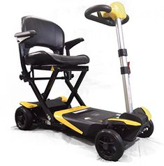 Mobility Scooters Enhance Mobility - The Transformer - Electric Folding Scooter - 4-Wheel - Yellow * This is an Amazon Associate's Pin. Click the VISIT button for detailed description on Amazon website.
