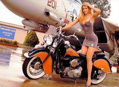 Hot woman, bike, and jet...all I can say