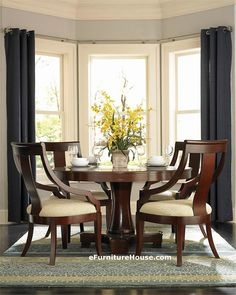 c34340333a05 Round Contemporary Cherry Dining Table with Chairs Casa Ideal