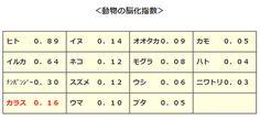 カラスの脳化指数・他の動物との比較表