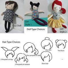 Fabric doll hair inspiration ideas - Custom Rag Doll 1 by LittleFairyWinks on Etsy