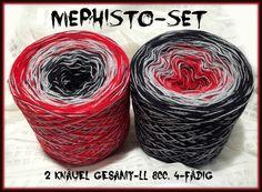Mephisto-Duo: HB-Acryl 4-fädig, 4 Farben  rot  aluminium schwarz palko (durchgehend)