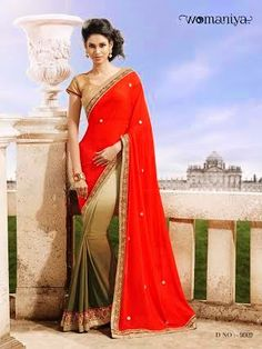 Beautifully designed Tri-colored Shaded Georgette saree with heavy embroidery work en-crafted all over. Comes along with Contrast matching Golden Blouse.