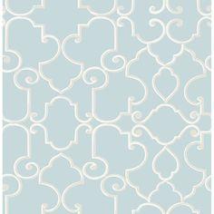 2734-003529 - Lilles Teal Trellis Wallpaper Wallpaper - by Brewster