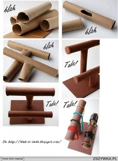 Trash Teaching Treasure--How to Show Off   - Too Darn Cute and Clever !  diy, diy projects, diy craft, handmade, diy ideas, diy paper roll jewelry display