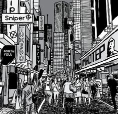 Modern, futuristic city with lots of toothpaste advertising billboards. Drawing of shopping mall filled with people.  Image from Stuart McMillen's comic Supernormal Stimuli.