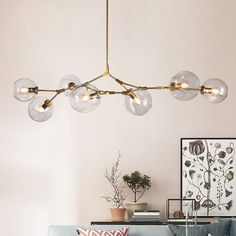 SPECTACULAR ART GLASS CHANDELIER LAMP WITH 7 Globes 0