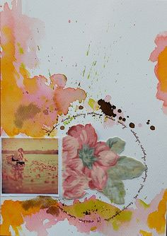 ***lovely watercolor with inked words and a small pic