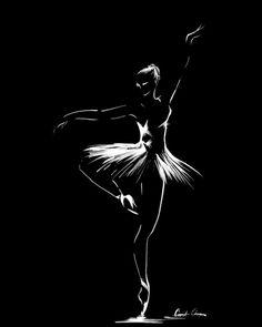 Ballerina Drawing Art Print, White on Black Minimalist Drawing, Ballet Dance Modern Wall Art