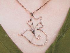 Fox Necklace. Oxidized Copper. Wire by Karismabykarajewelry