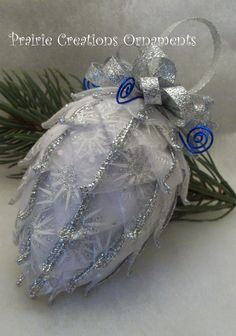 Quilted Ornament Pinecone Frosty Silver and by MyPrairieCreations, $18.00