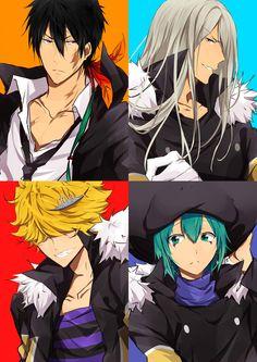 Xanxus, Squalo, Belphegor, and Fran