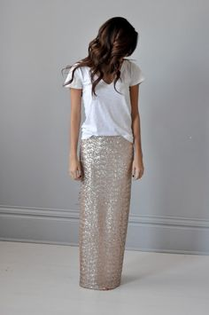 sequin maxi skirt + tee. love this low key glamour