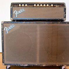"""Fender Bandmaster 1963 early blackface model, white (""""blonde"""") knobs"""