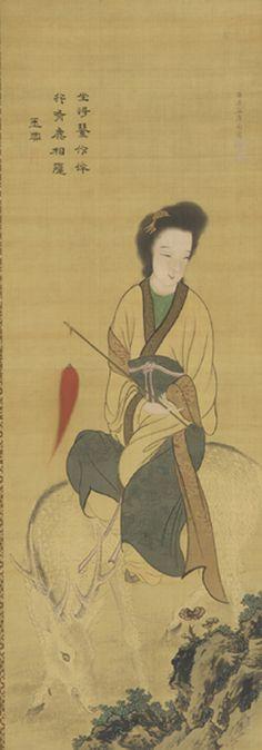 Japanese Art | A female immortal riding on a white deer | F1894.29 early 19th century  Kishi Ganku , (Japanese, 1749-1838) Edo period
