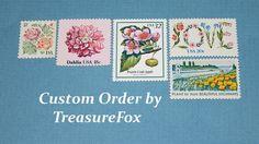 Reserved Custom Order for Emily .. Unused Vintage US Postage Stamps by TreasureFox on Etsy