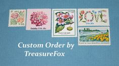 Reserved Custom Order for Emily .. Unused Vintage US Postage Stamps by TreasureFox on Etsy