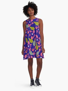 Flower print A-line dress. #dress #apparel #fashion #trendy #flowers