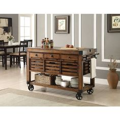 The Kaif Kitchen Cart by Acme Furniture with durable construction of wood and metal in a unique distress chestnut finish will become a stylish and function centerpiece of your home. The kitchen cart rests on casters, allowing you to move it easily. Wood Kitchen Island, Rustic Kitchen, Kitchen Dining, Kitchen Cabinets, Kitchen Ideas, Kitchen Islands, Kitchen Carts, Kitchen Designs, Butcher Block Kitchen Cart