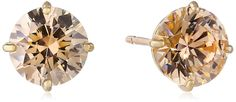 10k Gold Champagne Swarovski Zirconia Stud Earrings (2 cttw) -- More info could be found at the image url.