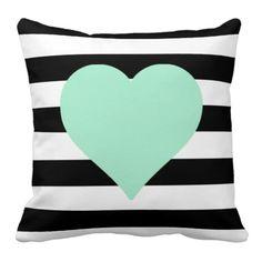 Black and White Striped Mint Heart Throw Pillow Zipper Bedding, Vintage Pillow Cases, Cheap Pillows, Bed Pillows, Home Textile, Pillow Covers, Mint, Peppermint, Pillow Case Dresses