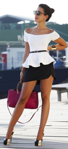 Diy White Peplum Top - Diy Black Skirt by Looks Street Style, Looks Style, Cool Outfits, Summer Outfits, Casual Outfits, Women's Fashion Dresses, Sexy Dresses, Pink Dresses, Style Feminin